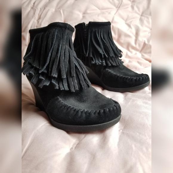 Minnetonka Black Suede Fringe Wedge Booties